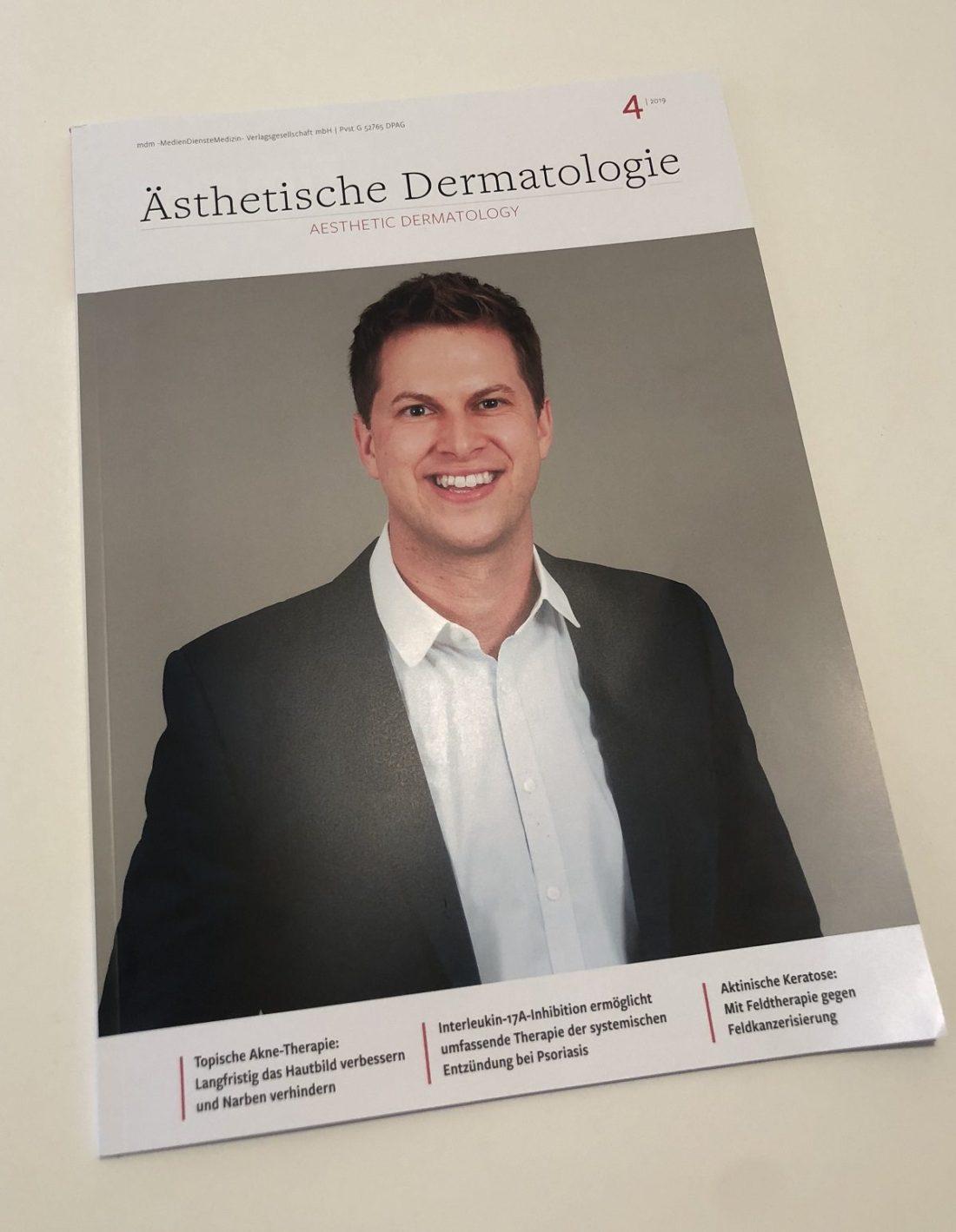 Kongresspräsident Dr. Gerd Gauglitz auf dem Cover der Zeitung Ästhetische Dermatologie